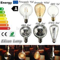 E27 4W 5W 40W Rétro Vintage Ampoule COB LED Filament Edison Lampe Bulb Déco 220V
