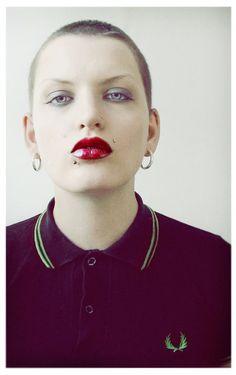 Simple Girl by PeachDaub on DeviantArt Skinhead Girl, Skinhead Fashion, Skinhead Style, Fred Perry, Ska Punk, Teddy Girl, Skin Head, Bald Girl, Portraits