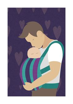 $12 art print...Contemporary babywearing Father art print from Northern Sun.