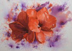 "Amaryllis. #Brusho 38x28 cm (15""x11"") www.nadjasart.com"
