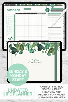 Undated Life Planner - Complete with Yearly, Monthly, Weekly and Daily Spreads- for GoodNotes, Notability, Xodo and other PDF apps Planner Template, Printable Planner, Free Printables, Life Planner, Planner Journal, Journal Layout, Journal Ideas, Landscape Planner, Project Planner