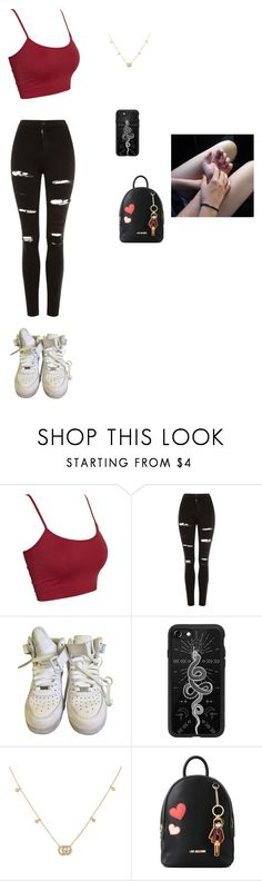 """Untitled #429"" by ericanais on Polyvore featuring Topshop, NIKE, Casetify, Gucci, Love Moschino and Sweet Romance"