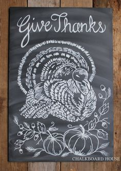 Chalkboard House via Etsy ~ Hand Painted Chalkboard Thanksgiving Sign - 18x24 Unframed Chalkboard Art