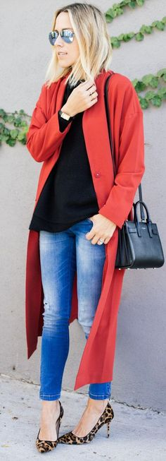 Street style Chic - Red Long Line Duster by Damsel In Dior
