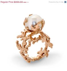 Valentines SALE  CORAL Large Pearl Engagement Ring 14k von arosha, $796.00
