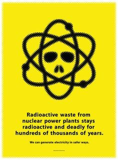 This awareness ad is simple trying to encourage people to think about more effective ways to produce energy, because of the high dangers and risks that radioactive energy comes with. Using a skull mashed together with the classic symbol of atoms revolving shows the harshness.