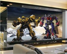 3D Wallpaper Bedroom Modern Transformers visual supe cartoon Wall Background #New