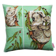 Australian Koalas & Gum Leaves Cushion | Merry-Go-Round on Madeit Vintage Cotton, Vintage Tea, Retro Vintage, Cushion Cover Designs, Cushion Covers, Lavender Tea, Green Backgrounds, Tea Towels, Cute Art