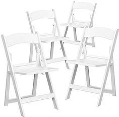 87d0620da11 4 Pk. HERCULES Series 1000 lb. Capacity White Resin Folding Chair with  Slatted Seat