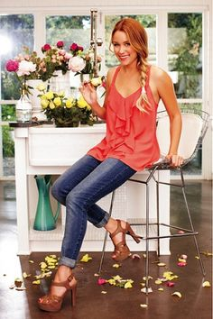 lc lauren conrad ruffle front tank {love this for spring and outfits clothes style summer clothes summer outfits Lc Lauren Conrad, Fashion Models, Fashion Outfits, Womens Fashion, Coral Fashion, Fashion Shoes, Jeans Fashion, Trendy Fashion, Fashion News
