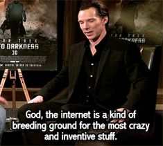 """Benedict is right.....but come on, when he gives us prompts like: """"We like nothing better than buffing our Zygoma,"""" he answered. """"And imagining a horny time traveling long overcoat purple scarf wearing super sleuth nordic legend f--k fantasy. Get to work on that, internet."""" WHAT DOES HE EXPECT?!?!"""