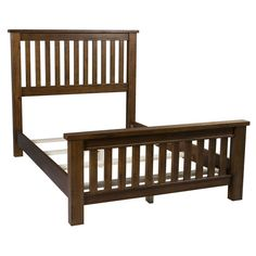 Chestnut-finished wood bed with a slatted headboard and footboard. King Size Headboard, Headboard And Footboard, Woodworking Bed, Woodworking Projects, Diy Projects, Hillsdale Furniture, Bed Slats, My Home Design, Wood Beds