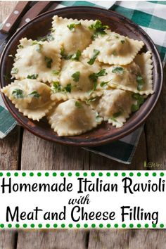 Homemade Italian Ravioli - with meat and cheese filling– easy to make at home and we take you step by step from making the pasta all the way to the filling. They freeze nicely so you always have homemade ravioli on hand. Best Pasta Recipes, Beef Recipes, Cooking Recipes, Cooking Tips, Homemade Ravioli Dough, Easy Ravioli Dough Recipe, Pierogi Recipe, Homemade Breads, Recipes