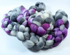 Rambouillet Wool Roving  Hand Painted  Hand Dyed by SpunRightRound