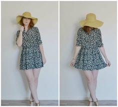 SALE BLACK FLORAL vintage secretary dress by ShopPatternonPattern, $20.00