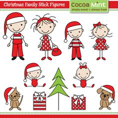 COCOA MINT Christmas family stick figures