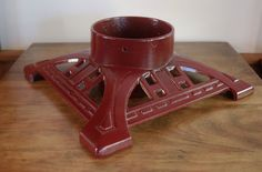 Cast Iron Christmas Tree Stand, John Wright Cranberry Red Iron Tree Holder, New in Box, Vintage Christmas - SOLD! :)