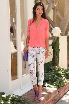 sheer pink top. floral white pants. lavender heels