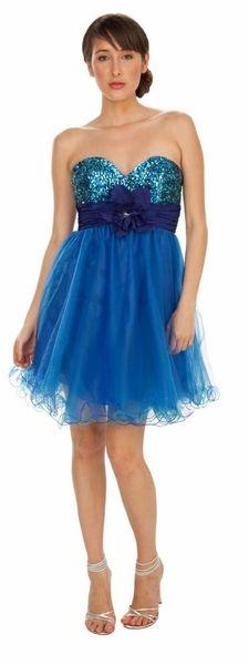 Tulle Prom Dress Royal Blue Short Strapless Sweetheart Neck Sequin