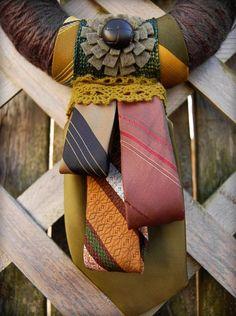 Yarn & Necktie Wreath - DIY for Father's Day