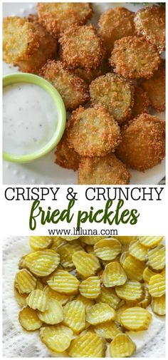 Fried Pickles Deep fried pickles are crunchy, flavorful, and SO tasty! These pickle slices are breaded and fried to perfection, making them a crowd-favorite party appetizer! Vegetarian Recipes, Cooking Recipes, Healthy Recipes, Snacks Recipes, Snacks Ideas, Deep Fried Recipes, Easy Fast Recipes, Deep Fried Foods, Simple Food Recipes