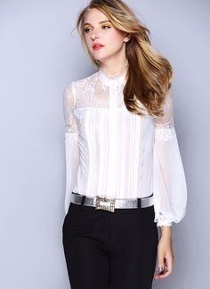 2016 New Women Satin Silk Blouse Shirt Ladies Casual Long Sleeve Ruffled Collar Slim Lace Real Silk Stain Blouses Shirt Tops ** AliExpress Affiliate's Pin. Detailed information can be found by clicking on the image White Chiffon Blouse, Black Silk Blouse, Chiffon Blouses, Mode Pro, Look Fashion, Fashion Outfits, Modele Hijab, Womens Trendy Tops, Lace Tops
