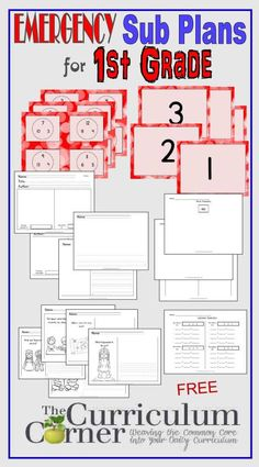 First Grade Emergency Sub Plans for 1st Grade FREE from The Curriculum Corner | math, reading, writing, Hopefully these emergency sub plans will make your life just a little easier when you simply cannot make it to school.
