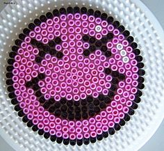 Smiley pink hama beads by Les loisirs de Pat