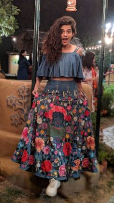 """Mithila Palkar rose to prominence in March 2016 with her version of the """"cup song"""" which was inspired from Anna Kendrick's cup song from Pitch Perfect. Party Wear Indian Dresses, Indian Gowns Dresses, Dress Indian Style, Indian Fashion Dresses, Indian Designer Outfits, Girls Fashion Clothes, Indian Outfits, Skirt Fashion, Girl Outfits"""