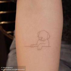 Single needle puppy tattoo on the left inner forearm. Small Dog Tattoos, Tiny Wrist Tattoos, Dainty Tattoos, Little Tattoos, Mini Tattoos, Body Tattoos, Cute Tattoos, Tatoos, Puppy Tattoo