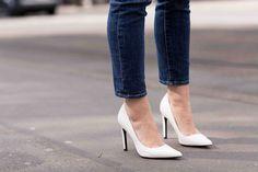 white pointy heels