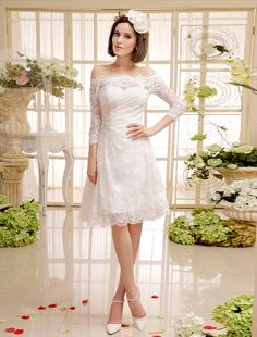 Ivory Short Lace Wedding Gown with Off-The-Shoulder Design Milanoo