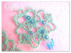 Lace tatted earrings 'Tears of joy' - Lime green handmade hand tatted earrings- original tatted jewels- Original Gaëlle's design-MadeinItaly