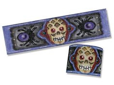 Needlepoint Halloween Canvas - Metal Skull Cuff - 18 mesh $50.00