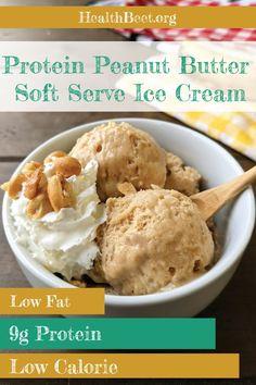 Peanut Butter Ice Cream, Peanut Butter Protein, Peanut Butter Recipes, Low Calorie Desserts, No Calorie Foods, Low Calorie Recipes, Ice Cream Calories, Low Calorie Ice Cream, Banana Ice Cream Healthy