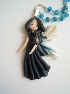 OOAK doll Night Fairy polymer clay FIMO necklace. By Katalin Handmade  (2013)…