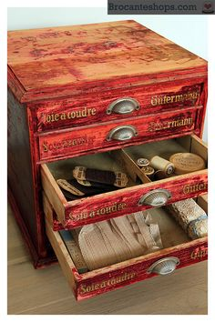 Antique red Gütermann chest of drawers.