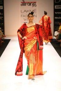 Golden red saree