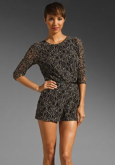 DV by Dolce Vita Pusha Lace Romper in Black/Nude