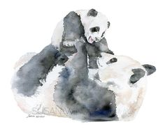 Panda Bears - Mother and Baby watercolor giclée reproduction. Landscape/horizontal orientation. Printed on fine art paper using archival pigment inks. This qual