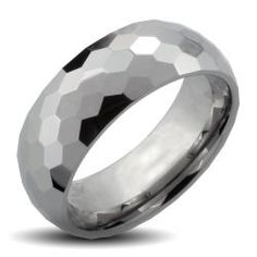 Men's Tungsten Carbide Honey Comb Multi-facet Design Ring (8mm)