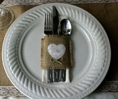 Burlap silverware holders, Country wedding decorations, Burlap wedding decorations 100 for 150. $2.20, via Etsy.