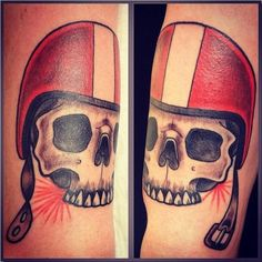 Helmet Skull Tattoos On Arm
