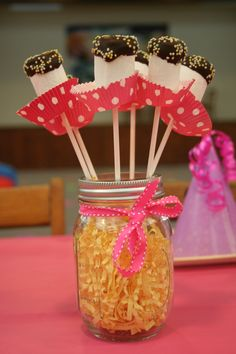 Marshmallow pops for Lalaloopsy party