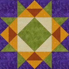 "Free Quilt Block Patterns, A Through E: Crown of Thorns Quilt Block Pattern - 12"""