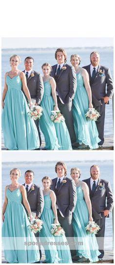 905e1699277 Tiffany Blue Straps Chiffon Custom Cheap Long Bridesmaid Dresses