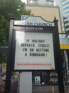 Omg, save me a stegosaurus!   25 Church Signs That Are Too Clever For Their Own Good