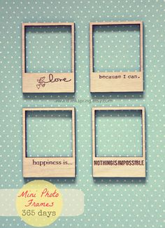 4 Mini Photo Frames  365 DAYS COLLECTION by ThinkSpring on Etsy, $5.80