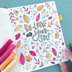 Bullet journal Be -leaf in your-self. Cover page S. - Bullet journal Be -leaf in your-self. Cover page September by Every D - Bullet Journal Inspo, Bullet Journal Lettering, Bullet Journal Month, Bullet Journal Banner, Bullet Journal Aesthetic, Bullet Journal Notebook, Bullet Journal Ideas Pages, Bullet Journal Headings, Autumn Bullet Journal