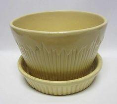 "Vintage Yellow Flower Pot - Morton USA Pottery - 5 7/8"" Diameter"